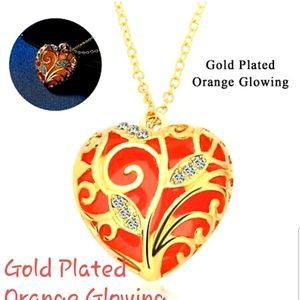 Jewelry - Good Plated Orange Glowing Heart Necklace